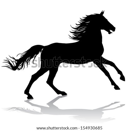 A horse gallops fast, vector illustration silhouette on a white background. - stock vector