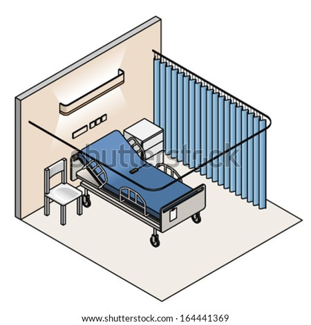 A hospital room with a bed, chair, bedside cabinet, and curtains. - stock vector