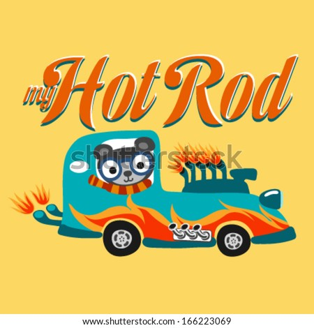 A hot rod car with flame paint. Vector illustration - stock vector
