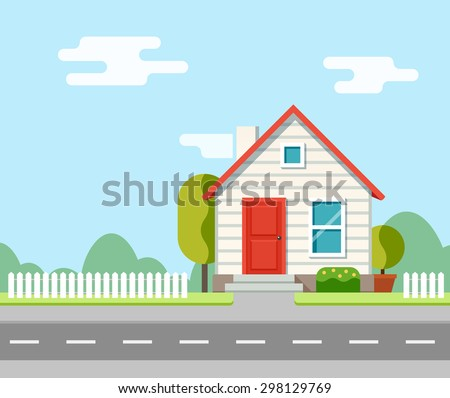 A house along the road. Part of the rural landscape. Vector illustration in flat style. - stock vector