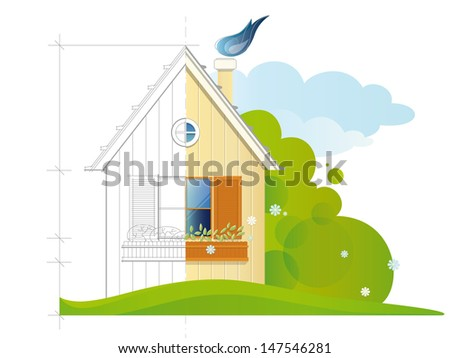 A house before (blue print) and after the constructing. EPS 10. Transparency. Gradients. - stock vector