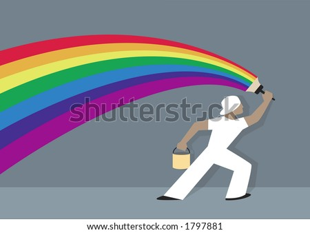 A house painter dressed in white is painting a rainbow on a grey wall. - stock vector