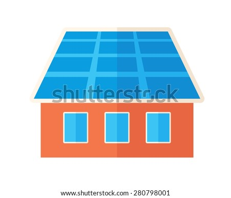 A house with solar panels on the roof. . A Contemporary style. Vector flat design illustration isolated white background. Square layout - stock vector
