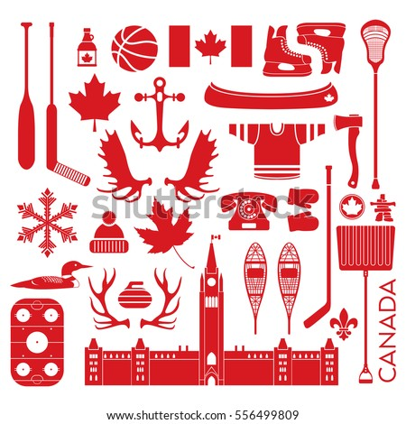 A huge collection of stereotypical Canadian icons in vector format. This unique pack of symbols contains hockey sticks, axes, antlers, maple leaves anchors and other items that represent Canada.