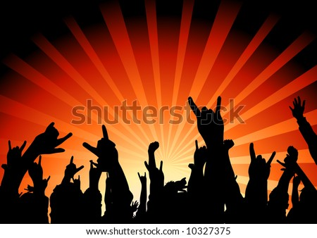 A huge crowd at a concert. - stock vector