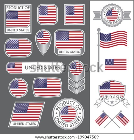 A huge vector collection of American flags in multiple different styles. In total there are 17 unique treatments that will be useful for a variety of applications. - stock vector
