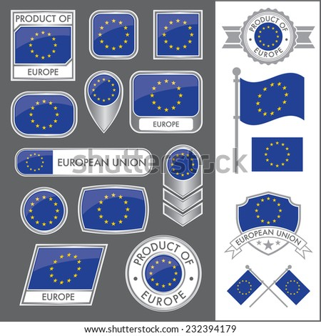 A huge vector collection of EU flags in multiple different styles. In total there are 17 unique treatments that will be useful for a variety of applications. - stock vector