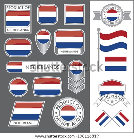 A huge vector collection of Netherlands flags in multiple different styles. In total there are 17 unique treatments that will be useful for a variety of applications. - stock vector