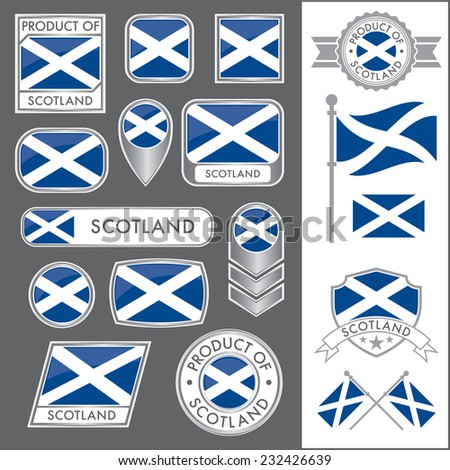 A huge vector collection of Scottish flags in multiple different styles. In total there are 17 unique treatments that will be useful for a variety of applications. - stock vector