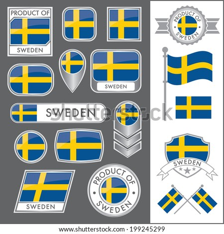 A huge vector collection of Swedish flags in multiple different styles. In total there are 17 unique treatments that will be useful for a variety of applications. - stock vector