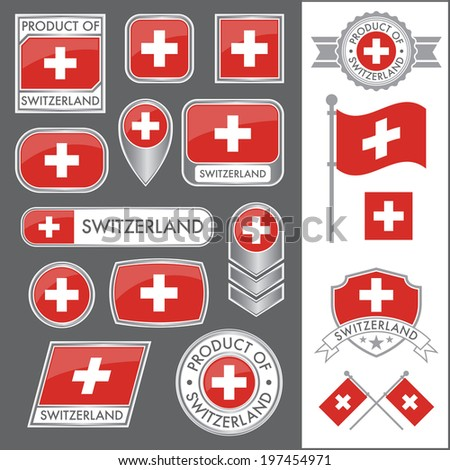 A huge vector collection of Swiss flags in multiple different styles. In total there are 17 unique treatments that will be useful for a variety of applications. - stock vector