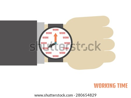 a human hand with watch, metaphor - stock vector