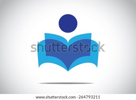 a human person reading an open book concept illustration symbol. colorful man studying literature or novel