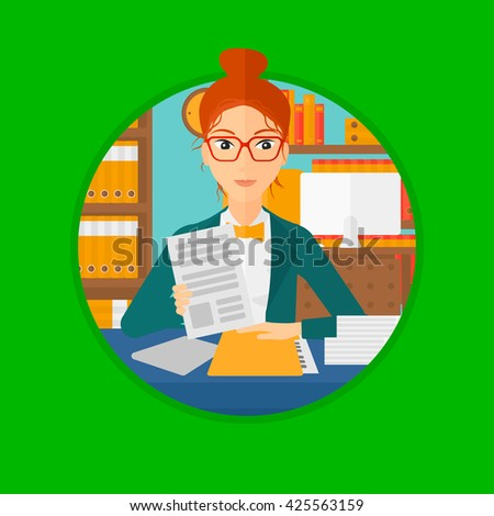 A human resources manager reading application portfolios in the office. Vector flat design illustration in the circle isolated on background. - stock vector