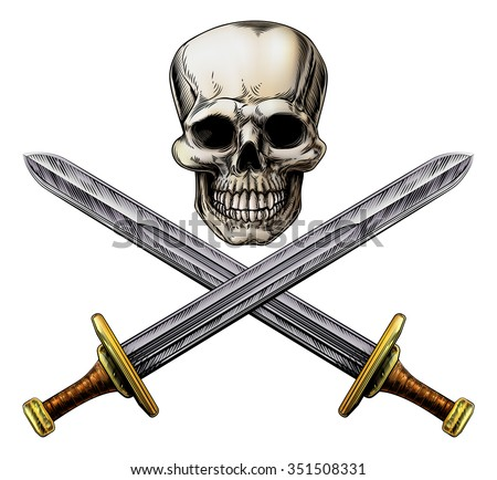 A human skull and crossed swords pirate style sign in a woodblock style