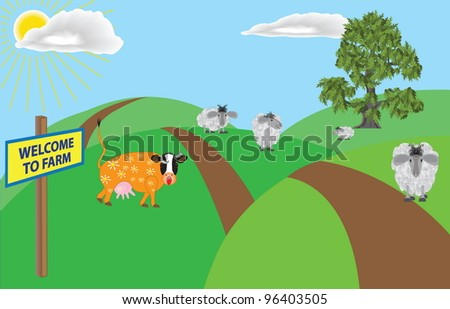 A humorous cartoon illustration about a farm and it's inhabitants .  Vector drawing EPS 10.