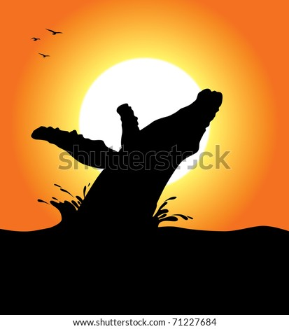 A humpback whale silhouette jumping at sunset. Editable vector illustration.