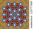 A illustration based on aboriginal style of dot painting depicting flower - stock photo