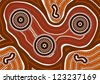 A illustration based on aboriginal style of dot painting depicting 3 of a kind - stock photo
