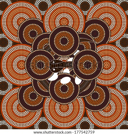 A illustration based on aboriginal style of dot painting depicting snake  - stock vector