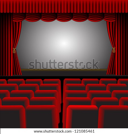 A  illustration of a cinema or theatre with red upholstery and fittings, with a screen and room for text