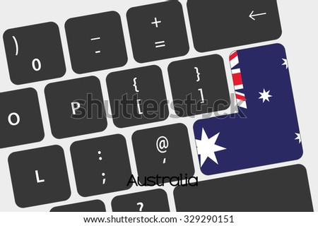 A Illustration of a Keyboard with the Enter button being the Flag of  Australia - stock vector