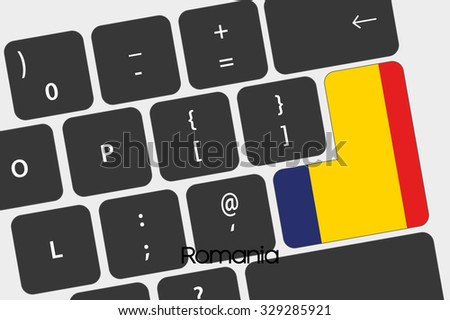 A Illustration of a Keyboard with the Enter button being the Flag of Romania - stock vector