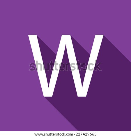 A Illustration of a Letter with a Long Shadow - Letter W - stock vector