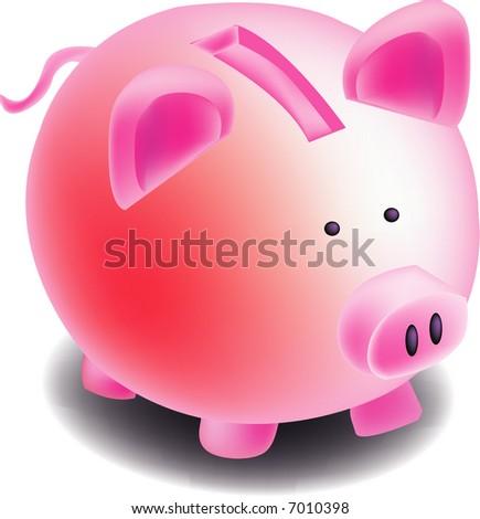 illustration, vector for piggy bank - stock vector