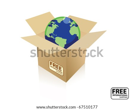 A International free shipping icon. The icon has a cardboard box with a globe inside. vector file also available. / Shipping world box / Shipping world box