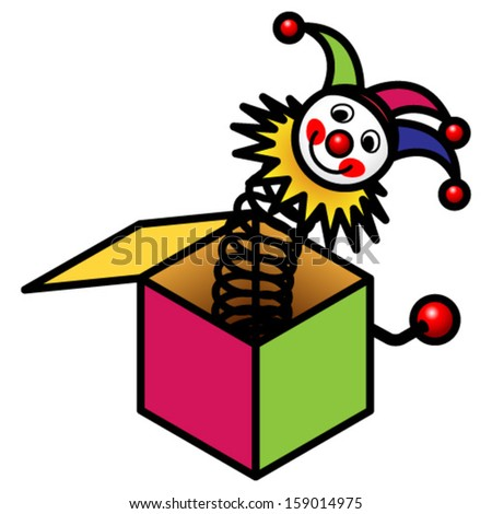 A Jack in the Box toy. - stock vector