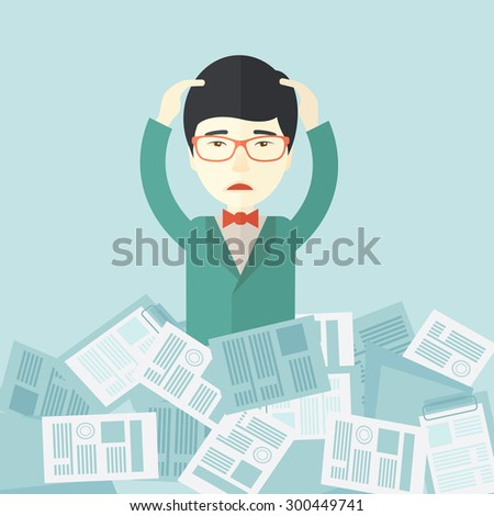 A japanese employee has a lot to do work with those papers around him and having a problem on how to meet the deadline of his report. Disappointment Concept. A contemporary style with pastel palette - stock vector