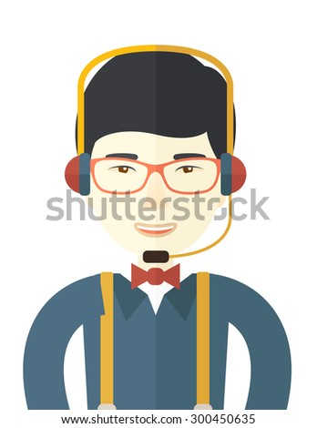 A japanese operator with headset as customer service. Call center concept. A contemporary style. Vector flat design illustration with isolated white background. Vertical layout.    - stock vector