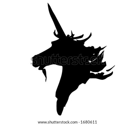 A japanese styled unicorn, vector in .eps format - stock vector