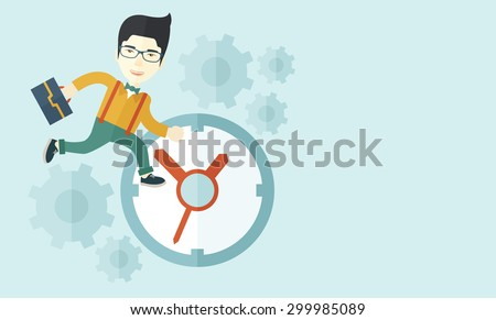 A japanese worker with briefcase is late to Work with a clock symbol. A contemporary style with pastel palette soft blue tinted background. Vector flat design illustration. Horizontal layout with text - stock vector