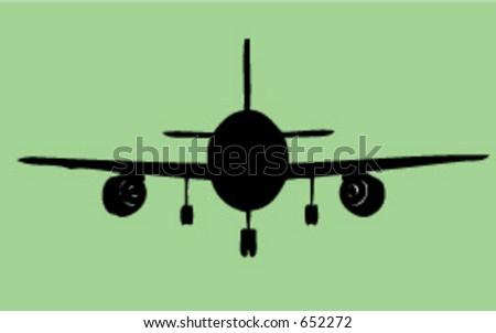 a jet facing forward - stock vector