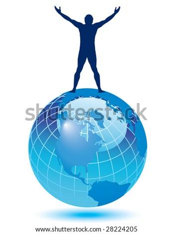 A joyful man on top of the world - stock vector