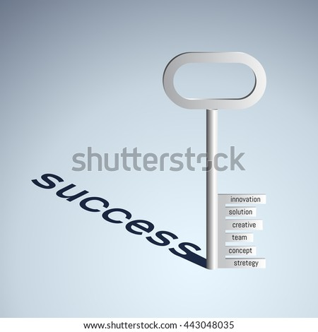 a key with words innovation,solution,creative,team,concept,strategy. business concept