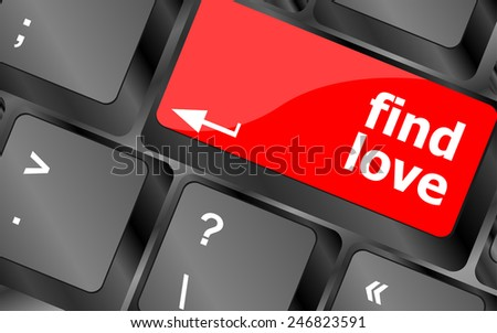 A keyboard with a find love button - social concept