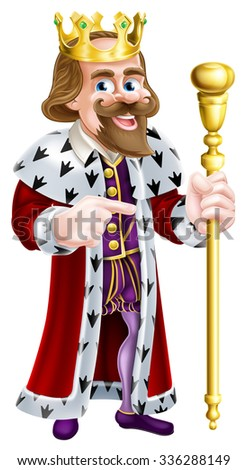 A king cartoon character holding a sceptre with one hand and pointing with the other - stock vector