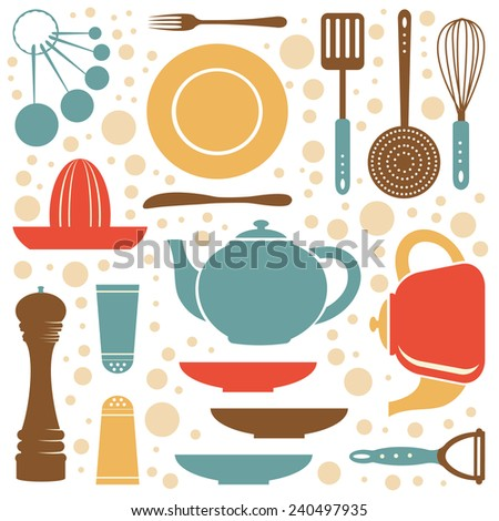 A kitchen collection retro style. Vector illustration - stock vector