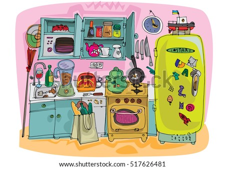 A kitchen full of stuff - cartoon