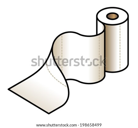 A kitchen paper roll being unrolled. - stock vector