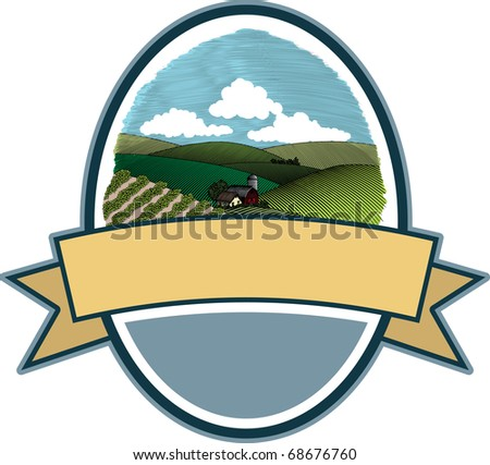A label featuring a woodcut style illustration of a rural farm scene. - stock vector
