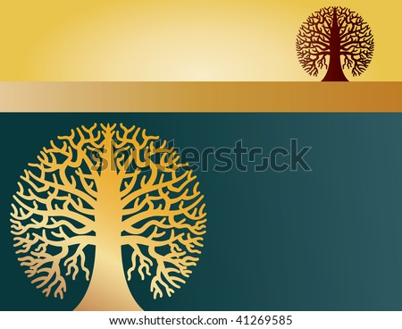 A landscape page layout with two round trees in it - stock vector