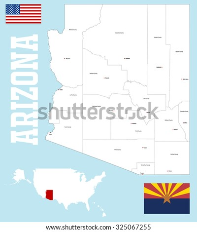 A large and detailed map of the State of Arizona with all counties and main cities.