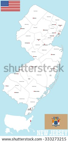 A large and detailed map of the State of New Jersey with all counties and main cities.