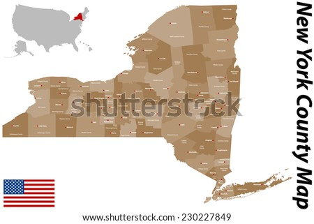 A large and detailed map of the State of New York with all counties and main cities. - stock vector