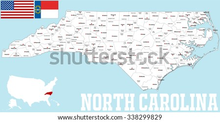 A large and detailed map of the State of North Carolina with all   counties and main cities.