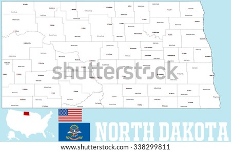 A large and detailed map of the State of North Dakota with all counties   and main cities. - stock vector